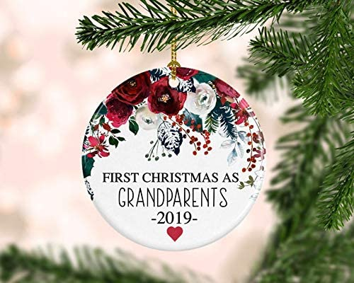 BABY/'S FIRST 1st CHRISTMAS TREE DECORATION FOR GRANDPARENTS personalised 8cm