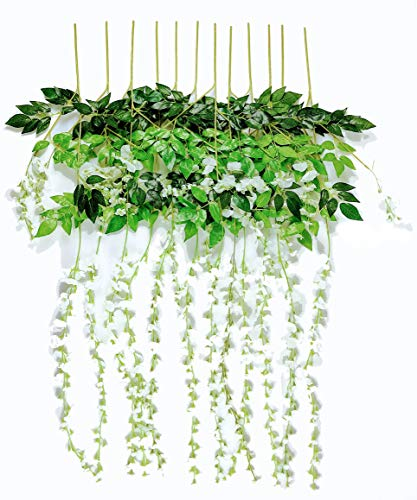 Miss Bloom Artificial Wisteria Vine - 12-Pack 3.6 Ft Spring Hanging Flowers Décor   Silk Plants Garlands for Sweet Home Kitchen Wall  Fake Plant Rattan for Outdoor Wedding Party Decorations (White)
