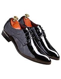 SLJ Men' Modern Lace Formal Pointed Toe Oxford Dress Shoes