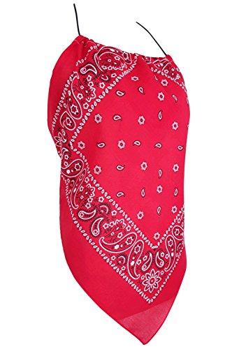 Downright Bandanas Bandana Halter Top Shirt - Womens Clothing (Red) -