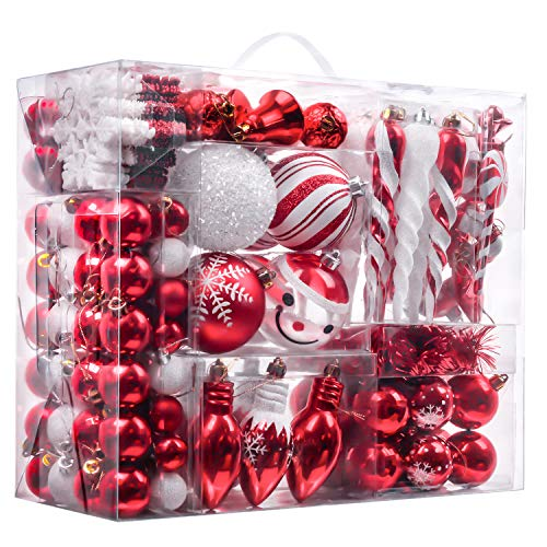 Valery Madelyn 155ct Traditional Shatterproof Christmas Ball Ornaments Decoration Red and White,1.2Inch-7.09Inch,Themed with Tree Skirt(Not Included) (Big Christmas Ornaments)