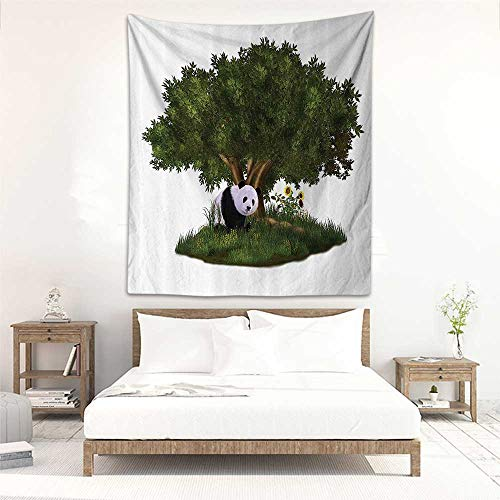 Godves Wall Tapestry Animal Decor Collection Cute Panda Bear Sits Under a Tree in a Meadow with Grass and Sunflowers Scenery Stylish Minimalist Fresh Style 70