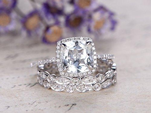 3pcs Aquamarine Wedding Ring Set,8mm Cushion Cut Natural Light Blue Aquamarine Gemstone 14k White Gold Diamond Halo Engagement Ring Full Eternity Marquise Milgrain Matching Band Promise Art Deco ()