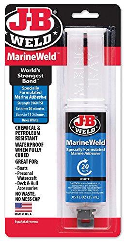 J-B Weld 50172 MarineWeld Marine Adhesive Epoxy Syringe - Dries White - 25ml ()