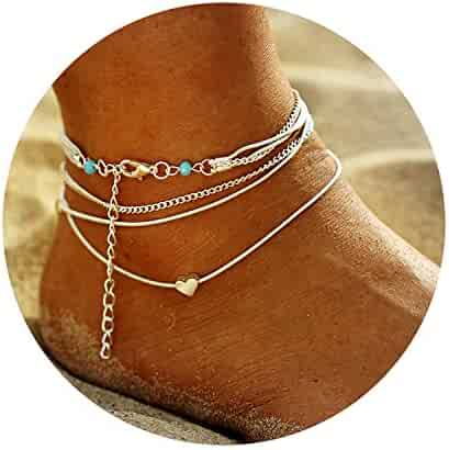 FineMe Starfish Turtle Anklets Multiple Layered Boho Gold Chain Anklet Heart Beach Rhinestones Turquoise Stone Charm Anklet