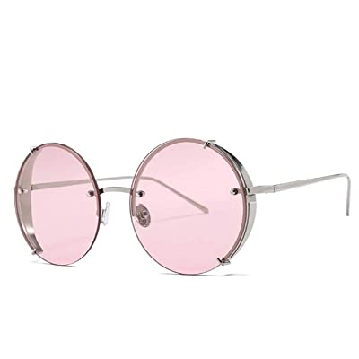 Sunwd Gafas de Sol, Luxury Oversized Round Sunglasses Women UV400 Retro Designer Half Frame Gradient Sun Glasses For Female Oculos Eyewear D547 pink: Ropa y accesorios