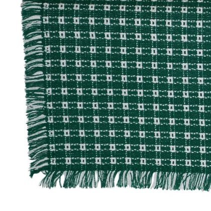 62 x 108 (Rectangle) Homespun Tablecloth, Hand Loomed, 100% Cotton, Evergreen/White