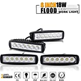"TURBOSII DRL Backup Driving Pods 6"" 4pcs Straight Flood Fog Work Light Grill Reverse Hidden Bumper LED Light Bar for Harley Dyna Golf Cart Ford King Ranch Suburban Golf Cart Dodge F150 John Deere"