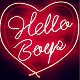Mirsne neon signs, glass tube neon lights, 24'' by 24'' inch Hello Boys neon signs bar, the best neon sign custom supplied for a wide range of personal uses.
