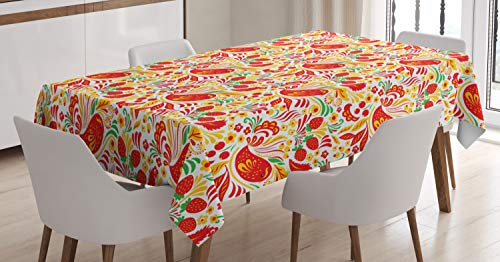 Lunarable Ethnic Tablecloth, Traditional Russian Folk Pattern Hohloma with Birds and Strawberry, Dining Room Kitchen Rectangular Table Cover, 60 W X 90 L Inches, Green Pale Orange Vermilion