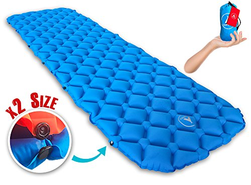 Lightweight Sleeping Pad, Connectable For 2 or 1 Person, Self Inflating Mat for Camping, Backpacking, Hiking: Compact Air Mattress, Inflatable Insulated, Ultralight Air Mattress for (Spring Air Natures Rest)
