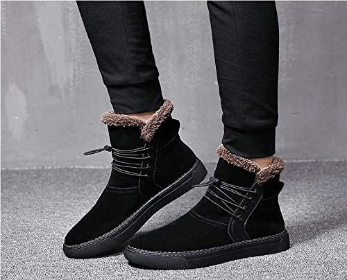 Men with high velvet warm winter boots all-match British short boots for Martin,39 black by ZRLsly (Image #2)