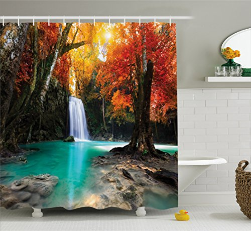 Autumn Waterfall - Ambesonne Waterfall Decor Collection, Deep Forest Waterfall Runoff Autumn Forest Image Pattern, Polyester Fabric Bathroom Shower Curtain Set with Hooks, Paprika Turquoise Ivory