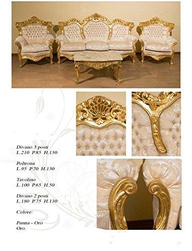 lechic Sofá 3 plazas Barroco Hoja Oro Maciza con 2 sillones ...