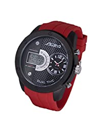 American Design Machine Men's 'Detroit' Quartz Stainless Steel and Silicone Sport Watch, Color: (Model: ADS 4002 RED)