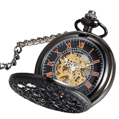 Avaner Unisex Antique Steampunk Black Skeleton Spider Web Pattern Hand Wind Mechanical Movement Roman Numeral Pocket Watch Gift with 14 inches Chain by Avaner (Image #1)