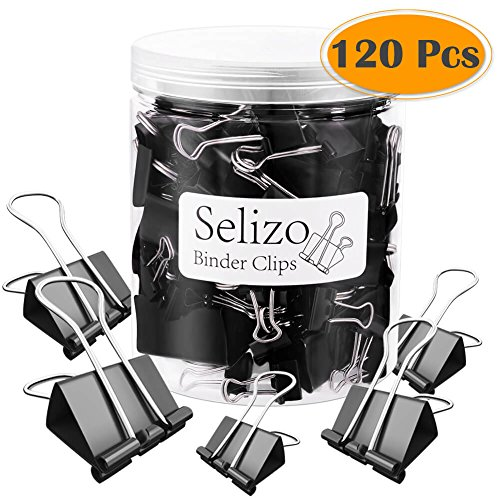 Selizo 120 Pcs Black Binder Clips Paper Clamp Clips Assorted 6 Sizes by Selizo