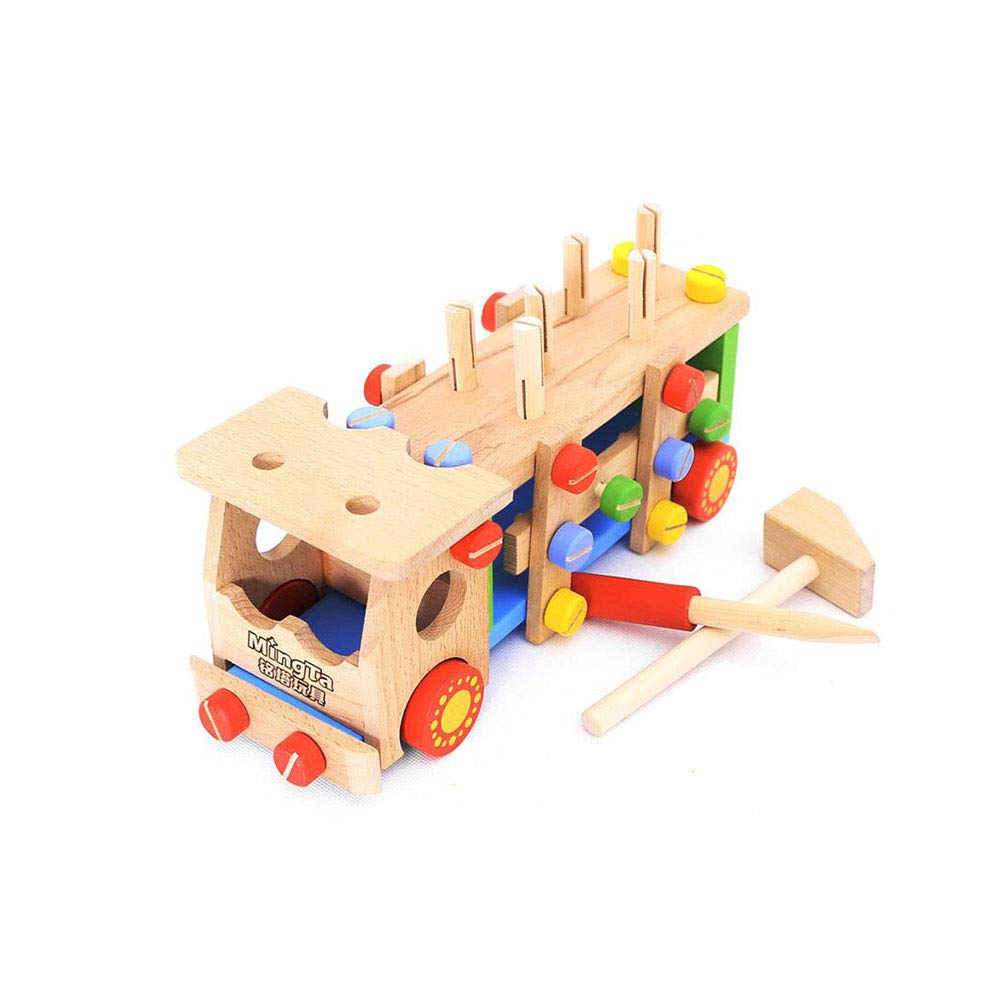 Dall Wooden Toy Disassembly Screw Vehicle Car Truck Knock Ball Educational Chidren Assembly and Disassembly