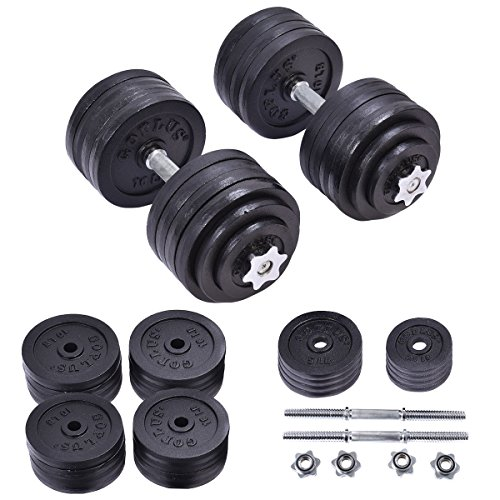 200 lbs Adjustable Cap Weight Workout Dumbbell Set by Apontus