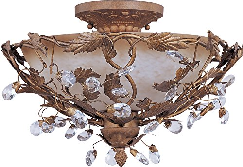 Maxim 2859EG Elegante 3-Light Semi-Flush Mount, Etruscan Gold Finish, Frosted Ivory Glass, CA Incandescent Incandescent Bulb , 9W Max., Dry Safety Rating, 3000K Color Temp, Frosted Glass Shade Material, 400 (Ivory Leaf Chandelier)