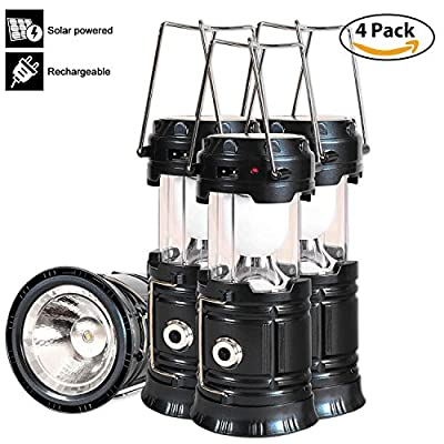 Solar Led Camping Lantern, 4 Pack Rechargeable Lantern Flashlight, Collapsible Outdoor Lamp Light for Emergency, Hurricanes, Power Outage, Storm (Black)