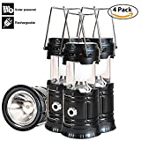 LED Camping Lantern - Solar Led Camping Lantern, 4 Pack Rechargeable Lantern Flashlight, Collapsible Outdoor Lamp Light for Emergency, Hurricanes, Power Outage, Storm (Black)