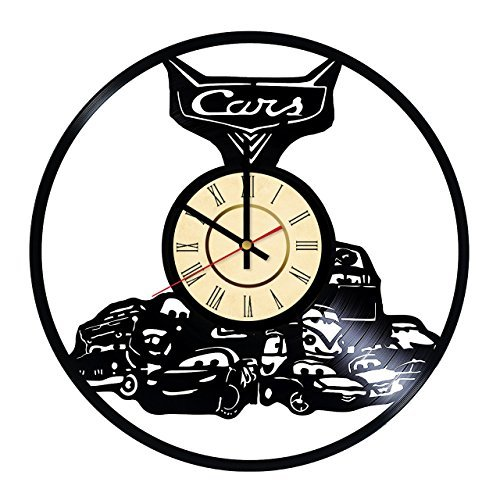 Fun Door Cars 2 Lightning McQueen Vinyl Record Wall Clock - Get Unique Nursery Wall Decor - Gift Ideas for Girls and Boys, Kids - Unique Walt Disney Art Design ()