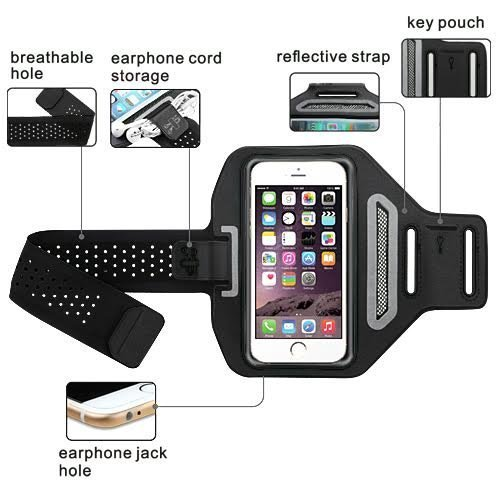 ([GW USA] Active Sports Armband Compatible with Moto G6 Play/Moto G6 Forge Universal Sport Running Armband up to 5.5 inch Screen Size Pouch For Workout + Key Holder - Black)