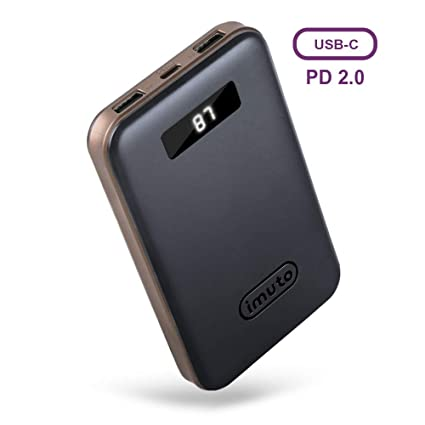 buy online 7ea08 ea31c imuto Portable Phone Charger 10000mAh Power Bank with LCD Display, USB C PD  18W QC 3.0 External Battery Charger, Fast Charge for iPhone XR XS Max X 8  ...