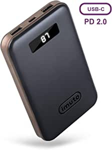 imuto Portable Phone Charger 10000mAh Power Bank with LCD Display, USB C PD 18W QC 3.0 External Battery Charger, Fast Charge for iPhone XR XS Max X 8 Plus, Samsung S8, Nintendo Switch, iPad Pro & More