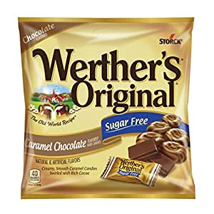 WERTHER'S ORIGINAL Sugar Free Caramel Chocolate Hard Candies, 2.35 Ounce (Pack of 12), Hard Candy, Bulk Candy, Individually Wrapped Candy Caramels, Caramel Candy Sweets, Bag of Candy, Hard Candy Bulk