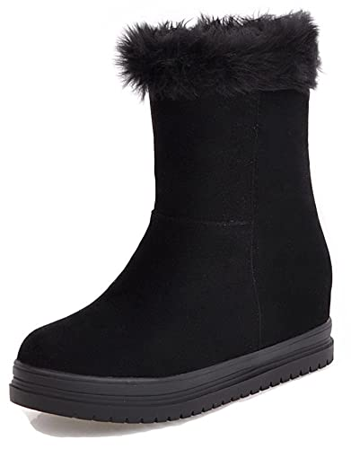 011fa6890e9c Aisun Women s Cute Inside Zip Up Hidden Wedge Booties Faux Fur Lined Round  Toe Elevator Low