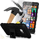 ( Black ) Nokia Lumia 930 Case Case Tough Survivor Hard Rugged Shock Proof Heavy Duty Case W/ Back Stand, Explosion Reinforced Tempered Glass Screen Protector & Retractable Stylus Pen by ONX3®