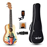 CYC Music Concert Ukulele 23 Inch Spruce Mahogany and Painting style with Beginner kit : Gig Bag,Tuner,Straps,Picks and Nylon String - Natural Color