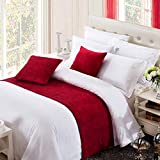 OSVINO Solid Color Chenille Soft No Fading Modern Bed Runner Bedding Scarf Protection, Red 260X50cm for 200cm Bed