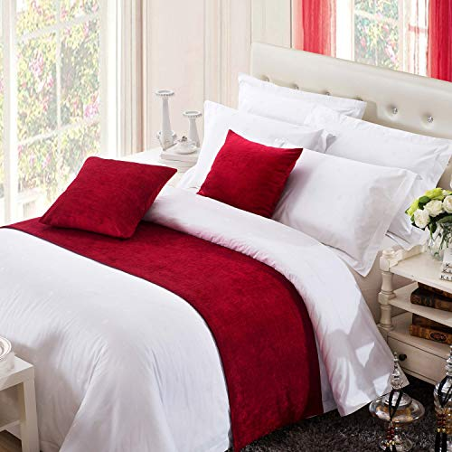 - OSVINO Solid Color Chenille Soft No Fading Modern Bed Runner Bedding Scarf Protection, Red 240X50cm for 180cm Bed