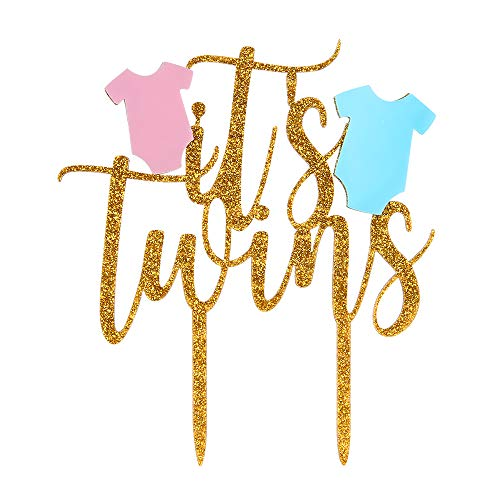 INNORU It's Twins Cake Topper, Twins Baby Shower