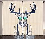 Antlers Decor Curtains Illustration of Deer Dressed Up Like Cool Hipster Fashion Creative Fun Animal Art Print Living Room Bedroom Decor 2 Panel Set Beige Black