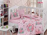 Bekata Mini, Baby Duvet Cover Set, 100% Cotton, Made in Turkey, 4 Pieces, Pink