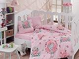 Bekata Mini, Baby Duvet Cover Set, 100% Cotton, Made in Turkey, 4 Pieces, Pink
