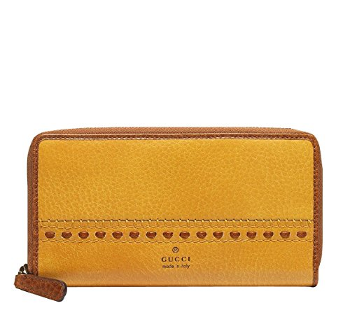 Gucci Women's Yellow Laidback Craft Leather Clutch Zip Ar...