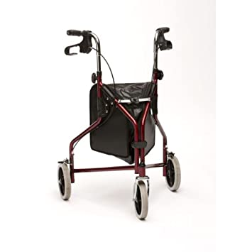 TRI WHEEL WALKER FOLDING 3 WHEELED WALKING AID RED by Drive Medical ...