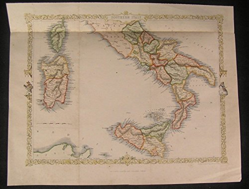 Southern Italy 1860 fine old vintage decorative antique Rapkin map 1860 Italy Antique