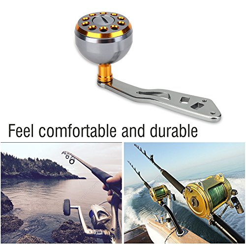 Reel Replacement Power Handle knob handle grips Part - Metal Fishing Spinning Reel Handle Grip for Abu Round Baitcast (Gold)