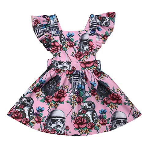 Toddler Baby Girls Dress Clothes Floral Star Wars Tutu&Sunflower Ruffled Sleeve Dresses Casual Sundress (A-Pink, 6-12m)]()