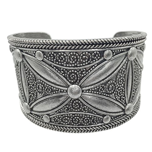 Gypsy Jewels Burnished Silver Tone Wide Cuff Bangle Bracelet (Star Flower)