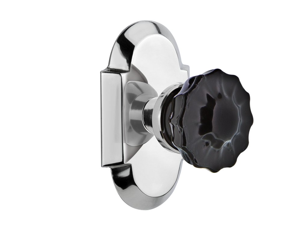 2.375 Nostalgic Warehouse 727190 Cottage Plate Privacy Crystal Black Glass Door Knob in Bright Chrome