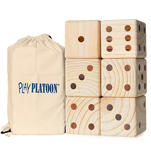 Best Deals! Play Platoon Lawn Dice - Giant Wooden Yard Dice Game for Playing Endless Outdoor Games
