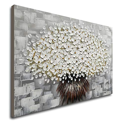 Winpeak Art Hand Painted Modern Textured White Flower Oil Painting on Canvas Abstract Floral Artwork