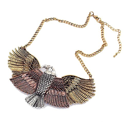 Grenf Fashion Women Jewelry Sets Unique Soaring Eagle Bird Necklace Pendant 3 Colors (Pink)